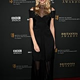 Poppy Delevingne in Marios Schwab at the BAFTA Britannia Awards.
