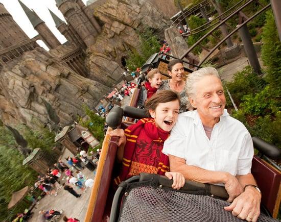 Michael Douglas,Catherine Zeta Jones and their kids flew over The Wizarding World of Harry Potter at Universal Orlando Resort