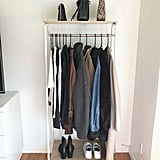 Iris USA Metal Garment Rack With 2 Wood Shelves