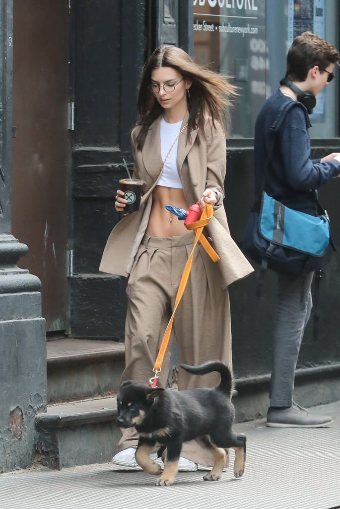 Emily Ratajkowski in Crop Top and Low-Slung Pants in NYC