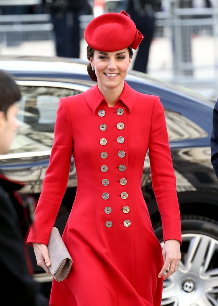 Commonwealth Day celebrations in London offered the British royals the perfect excuse to get together in celebration, and Kate Middleton was among the many senior members of the family who put in an appearance at a special service at Westminster Abbey to mark the occasion. Last year, the duchess wore a simple navy look for the service, but this year she opted for a far more striking option, dressed in a bright red Catherine Walker double-breasted coat. It's not the first time we've seen Kate in this bold coat. She first wore it for another Commonwealth-associated outing, when she stepped off a plane in New Zealand during the 2014 royal tour. Back then, Kate teamed the coat with a pillbox hat, but this time around, it was her sister-in-law Meghan Markle who opted for that style, while Kate picked a smaller hat instead. Diamond earrings, beige suede pumps, and a matching clutch completed her look. Keep reading to take a closer look.      Related:                                                                                                           Kate's a Lady in Red as She and Meghan Wear the Same Designer Only Days Apart
