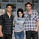 Kristen Stewart posed with Taylor Lautner and Robert Pattinson in 2009.