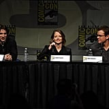 Sharlto Copley, Jodie Foster, and Matt Damon were at a panel.