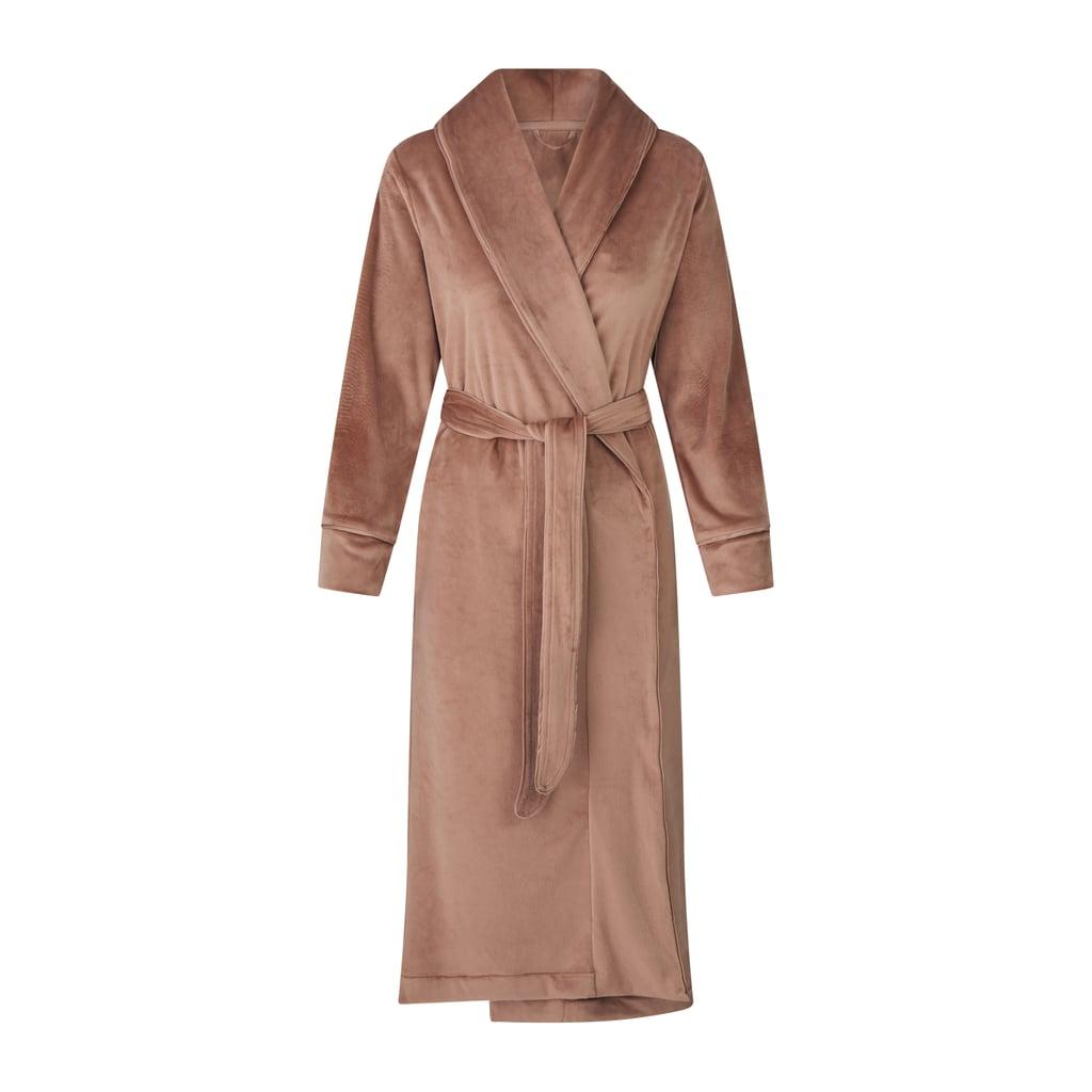 Kim Kardashian Skims Velour Long Robe in Sienna