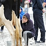Why, Yes, Lena Dunham Is, In Fact, Milking a Cow in NYC