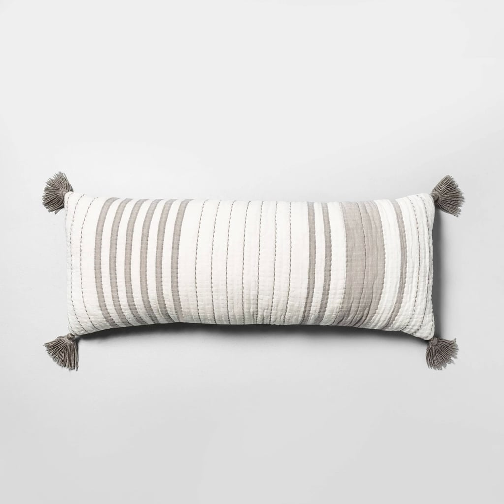 Lumbar Pillow Oversized in Stripe Gray and Sour Cream