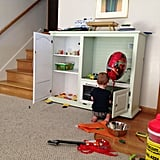 Their son loves it, and the fridge's shelves perfectly store books and toys.