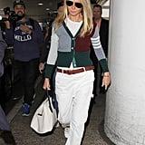 Gwyneth Paltrow Wearing a Cardigan and Cargos