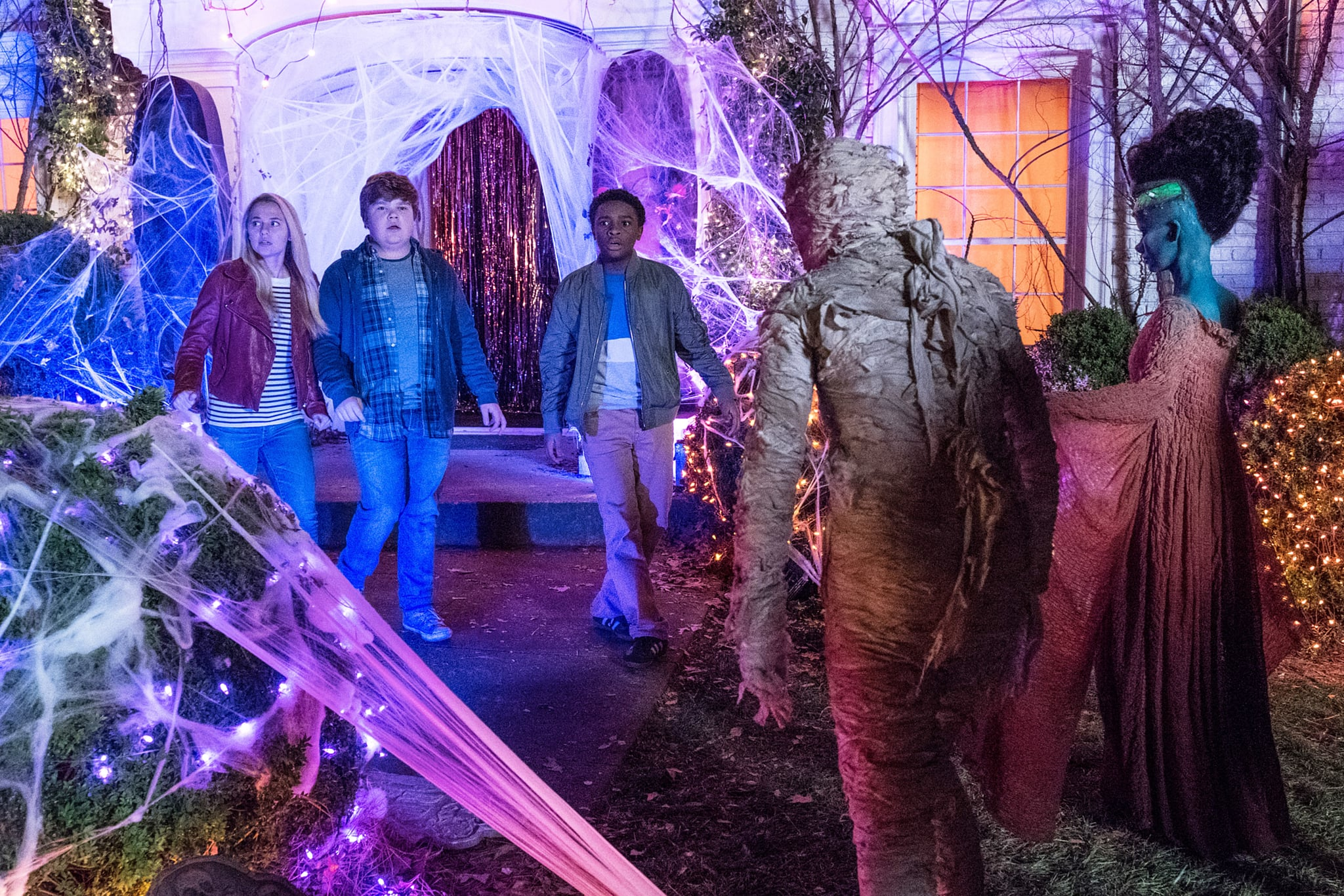 GOOSEBUMPS 2: HAUNTED HALLOWEEN, from left: Madison Iseman, Jeremy Ray Taylor, Caleel Harris, 2018. ph: Daniel McFadden /  Columbia Pictures /Courtesy Everett Collection