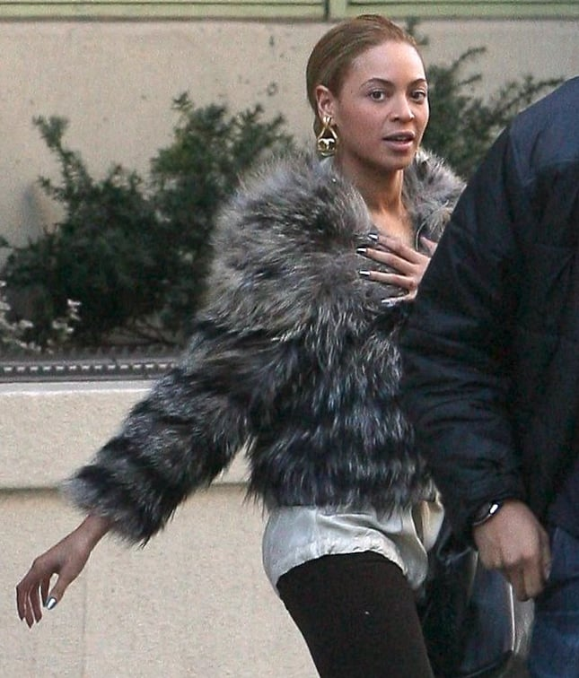 Beyoncé Knowles looked fierce in a furry jacket yesterday as she left her place in the Big Apple. Beyoncé has been taking care of business on the East Coast this month and just announced that she plans to perform at this Spring's Glastonbury Festival in England. In the meantime, she's expected to make the trek to LA with Jay-Z to attend the Grammys on Sunday. Her husband earned six nominations this year, while Beyoncé scored her own nod for best female pop vocal performance. She and Jay have also given us some of our favorite moments from past shows so take a look back at some Grammy highlights in pictures.