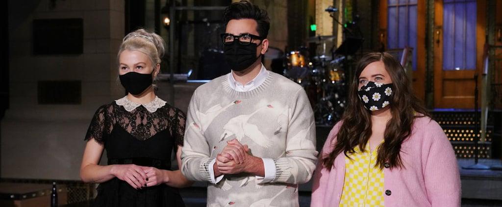 Shop Dan Levy's Swan Sweater in the SNL Promo