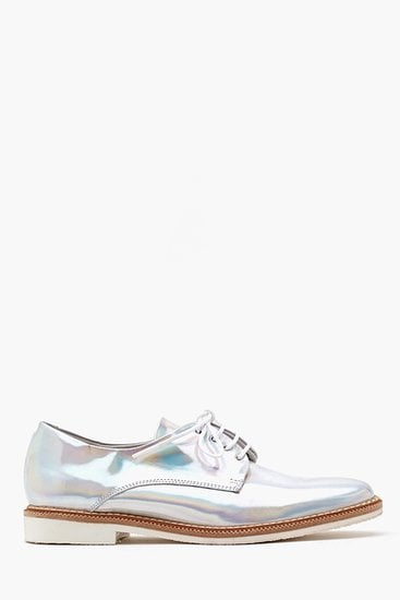 A hologram finish makes this pair of Nasty Gal Zoe oxfords ($180) serious statement makers.