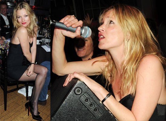 Photos of Kate Moss in Red Lipstick Singing at Mummy Rocks Charity Event in London With Rhys Ifans, Jamie Hince, Damian Lewis