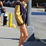 Taylor Swift showed off her legs in a pair of shorts while in NYC.