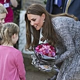 She bent down to say hello to a couple of children while visiting the Hope House charity in South London in February 2016. The all-female rehabilitation center is one of the projects run by Kate's patronage, Action on Addiction.
