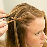 Take the bottom section of hair, and pull it over the waterfall section. Then take another section of hair from the top of your head to make another waterfall piece. Source: Caroline Voagen Nelson