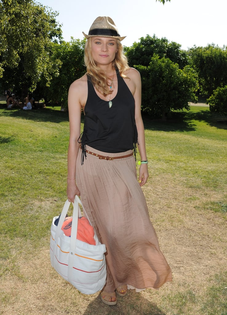 Diane also wore a straw fedora with a black ribbon at Lacoste's party during Coachella in 2011. Sport this Rag & Bone raffia fedora ($165) with your maxi skirt to achieve Diane's concert cool.