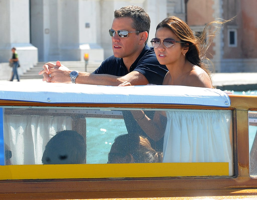 Matt and Luciana Damon rode a water taxi around Venice in September 2009.