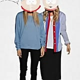 Mary-Kate Olsen and Ashley Olsen sported South Park masks.
