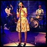 Emmy Rossum performed live in a sweet floral dress on the Today show. Source: Instagram user emmyrossum
