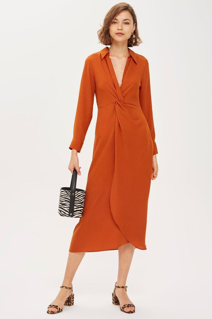 Twist-Front Midi Dress