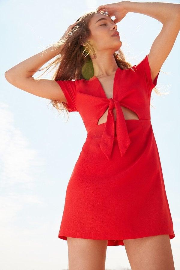 Kimchi & Blue Bow-Front Cutout A-Line Mini Dress