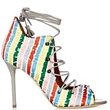 MALONE SOULIERS 'Savannah' Lace-Up Striped Satin Sandals ($776)