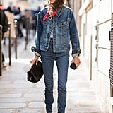 Denim on denim? Yes, please! With a pair of skinny jeans, consider a more oversize trucker jacket on top to balance out the proportions.