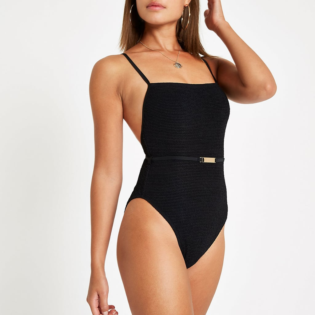 River Island Textured Belted Swimsuit