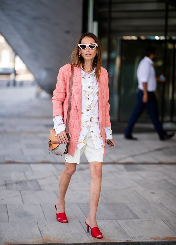 Style White Shorts With a Pink Blazer and Red Heels