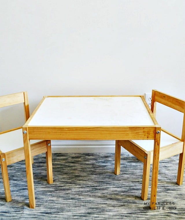 """The original table is simple and uninspired, but instead of seeing """"boring,"""" Jenn saw potential."""
