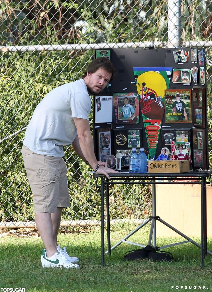 Mark Wahlberg checked out a display table at the park.