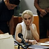 Lindsay Lohan waited to hear her verdict.