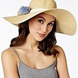 Calvin Klein Straw Flower Floppy Hat