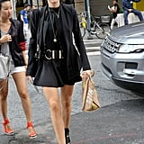 All black with gold hardware had a tough-girl-cum-sophisticate vibe, very Victoria Beckham.