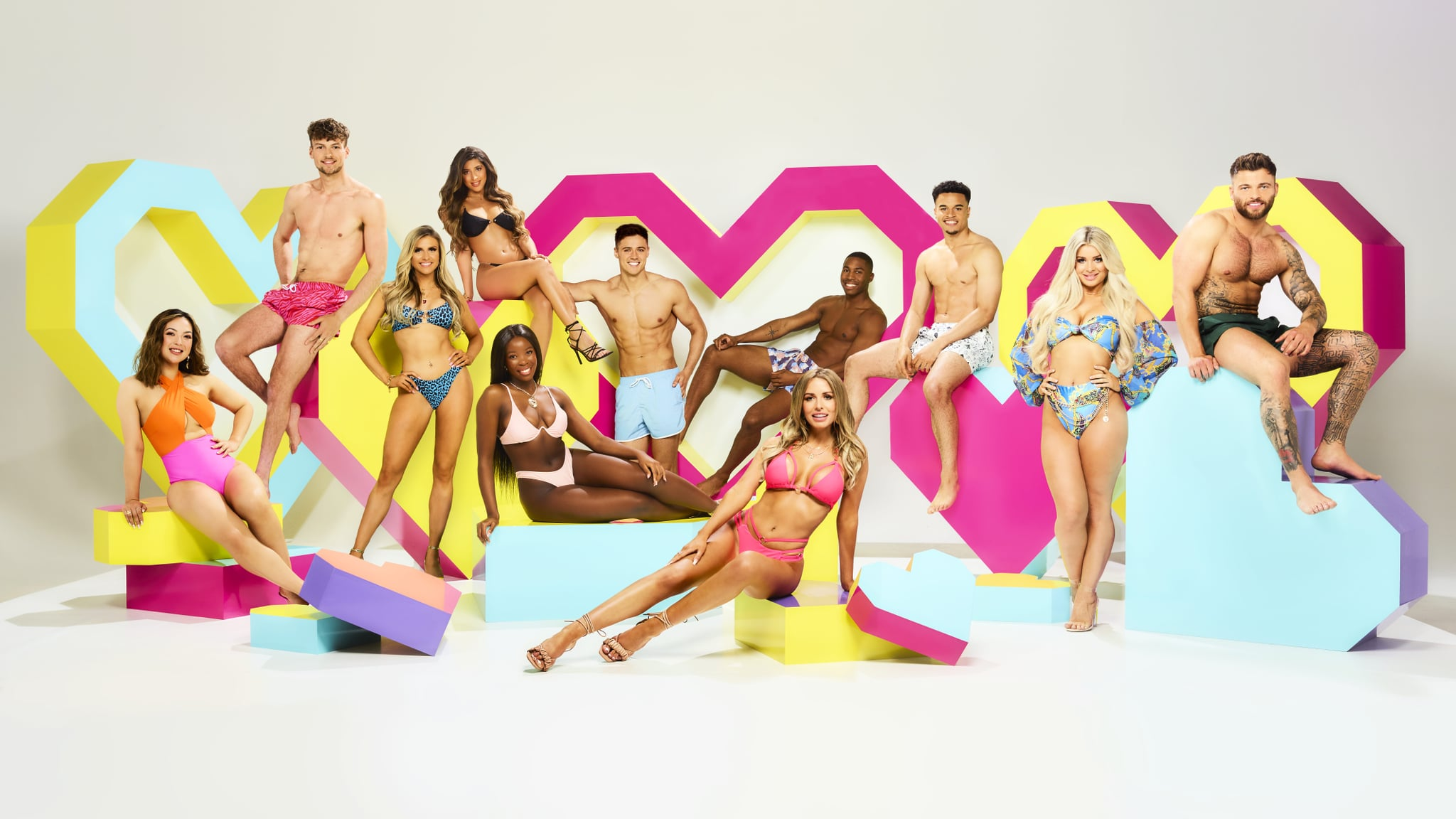 This image and the information contained herein is strictly embargoed until 22.00 Monday 21st June 2021From Lifted EntertainmentLove Island: SR7 on ITV2 and ITV Hub new episodes are available the following morning on BritBoxPictured: Sharon Gaffka, Hugo Hammond, Chloe Burrows, Shannon Singh, Kaz Kamwi, Brad McClelland, Faye Winter, Aaron Francis, Toby Aromolaran, Liberty Poole and Jake Cornish.This photograph is (C) ITV Plc and can only be reproduced for editorial purposes directly in connection with the programme or event mentioned above, or ITV plc. Once made available by ITV plc Picture Desk, this photograph can be reproduced once only up until the transmission [TX] date and no reproduction fee will be charged. Any subsequent usage may incur a fee. This photograph must not be manipulated [excluding basic cropping] in a manner which alters the visual appearance of the person photographed deemed detrimental or inappropriate by ITV plc Picture Desk.  This photograph must not be syndicated to any other company, publication or website, or permanently archived, without the express written permission of ITV Picture Desk. Full Terms and conditions are available on the website www.itv.com/presscentre/itvpictures/termsFor further information please contact:james.hilder@itv.com / 0207 157 3052