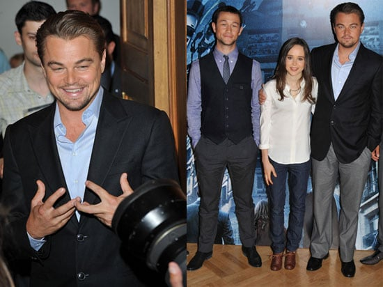 Pictures of Leonardo DiCaprio, Ellen Page, and Joseph Gordon-Levitt at a London Photo Call For Inception