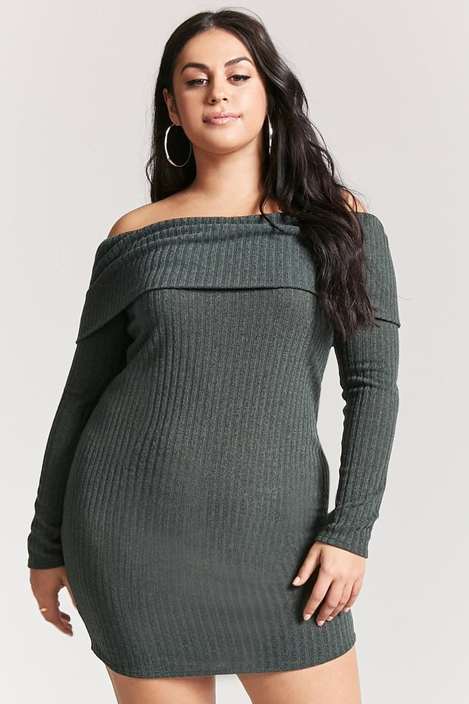 3f029be21c9 Forever 21 Plus Size Off-the-Shoulder Sweater Dress