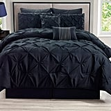 KingLinen Rochelle Pinched-Pleat Black Comforter Set