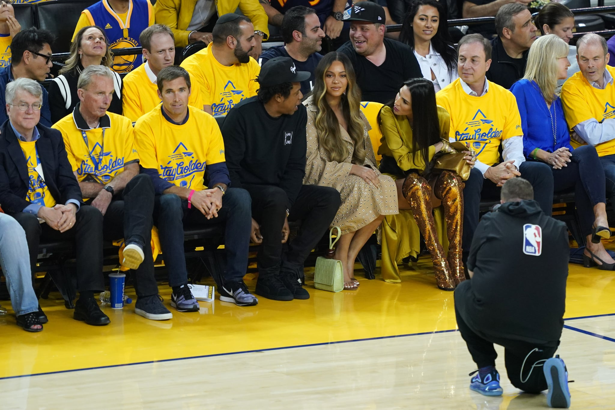 OAKLAND, CALIFORNIA - JUNE 05:  Jay-Z and Beyonce attend Game Three of the 2019 NBA Finals between the Golden State Warriors and the Toronto Raptors at ORACLE Arena on June 05, 2019 in Oakland, California. NOTE TO USER: User expressly acknowledges and agrees that, by downloading and or using this photograph, User is consenting to the terms and conditions of the Getty Images Licence Agreement. (Photo by Thearon W. Henderson/Getty Images)