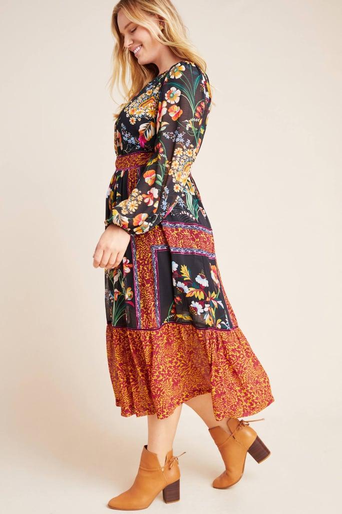 Adair Velvet-Trimmed Midi Dress
