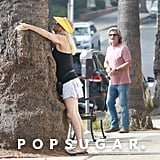 Goldie Hawn Casually Hugs and Kisses a Tree While Kurt Russell Pays For Parking