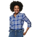 POPSUGAR Essential Button Down Shirt in Shelby Plaid