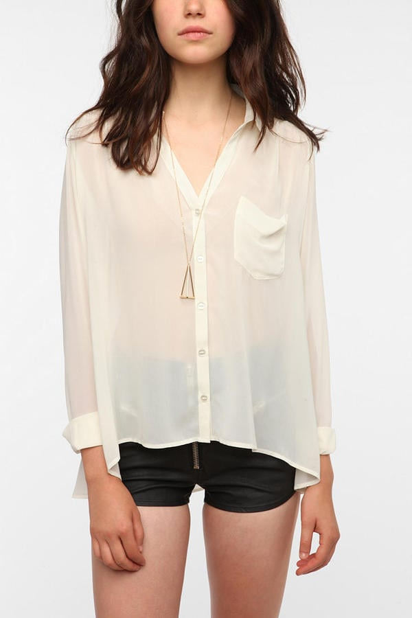 This semisheer blouse will do double-duty all season; wear it under a chunky cardigan for class, then pair it with a pretty bra at night. Silence & Noise Sheer Chiffon Button-Down Blouse ($49)