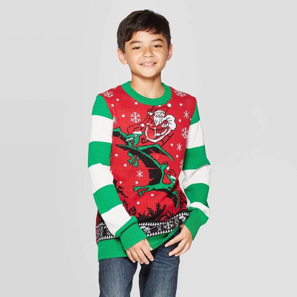 Well Worn Boys' Dino Days Santa Ugly Christmas Sweater ...