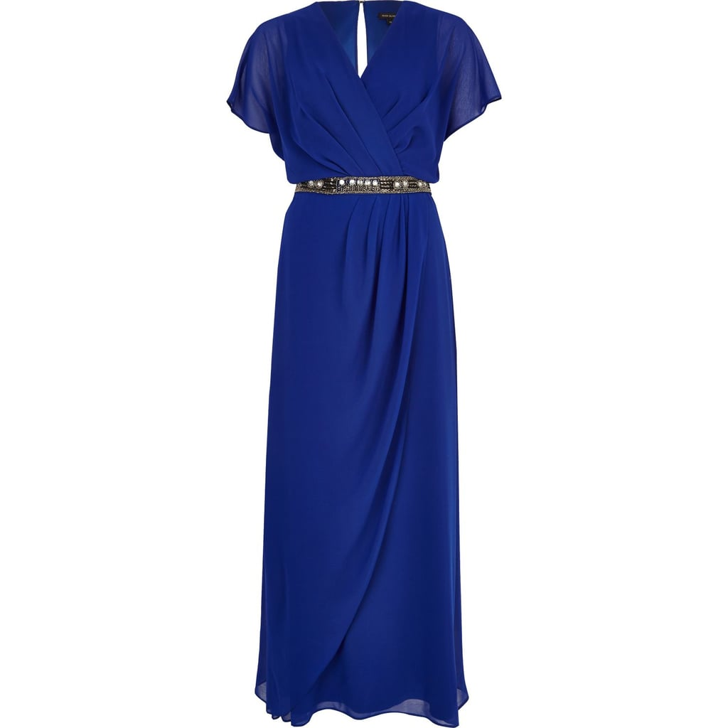 River Island Blue Embellished Waist Draped Maxi Dress