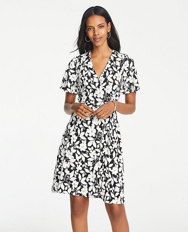 Ann Taylor Garden Flutter Sleeve Wrap Dress