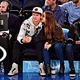 Ansel Elgort Kissing Violetta Komyshan at Knicks Game 2016