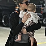 Jessica Alba planted a kiss on daughter Haven Warren after their shopping outing to Whole Foods in LA.