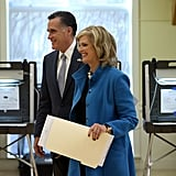 Mitt and Ann were all smiles after voting in Massachusetts.